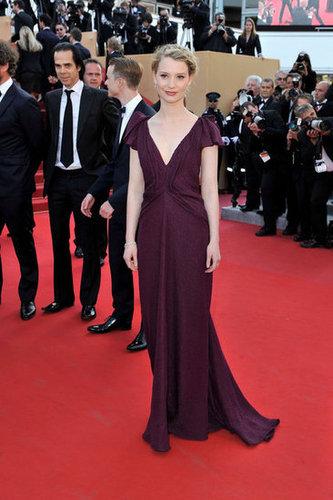 Mia Wasikowska wore a elegant dark cranberry J. Mendel gown to the Lawless premiere.