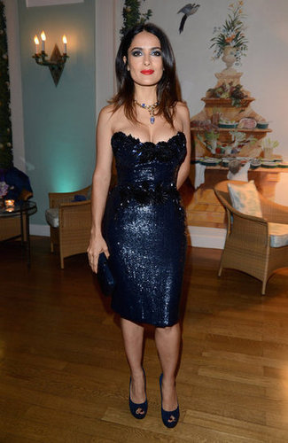 Salma Hayek perfected cocktail-chic glamour in a glittering strapless dress.