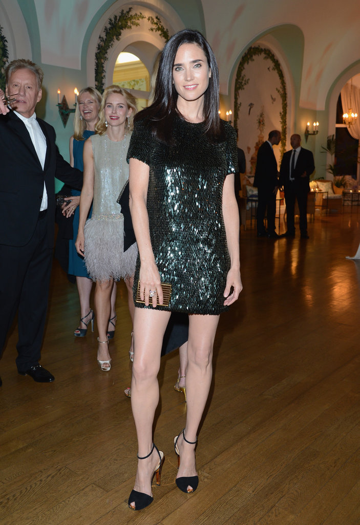 Jennifer Connelly showed off her stems in a black sequined mini sheath for Gucci's party.