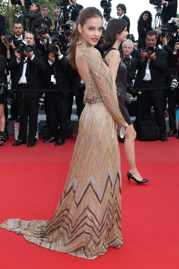 A closer look at the cool zigzag detail on Barbara Palvin's gown.