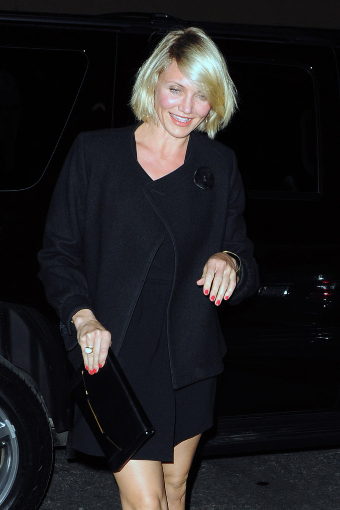 Cameron Diaz sported hot pink nails in NYC.