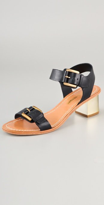 We love the cool gold hardware to contrast the basic silhouette and classic leather.  Pour La Victoire Ilissa Low Heel Sandals ($240)