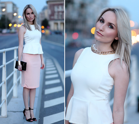 With a fresh pastel palette and a pretty pencil skirt, this peplum look might even work for your more casual weddings.  Photo courtesy of Lookbook.nu