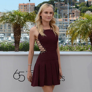 Diane Kruger in Lace-Up Dress at Cannes 2012