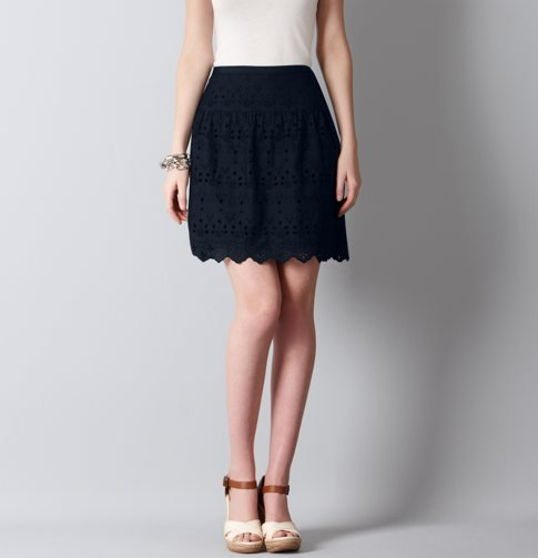 Wear this navy skirt with a bright white tee tucked in.  LOFT Cotton Island Eyelet Skirt ($70)