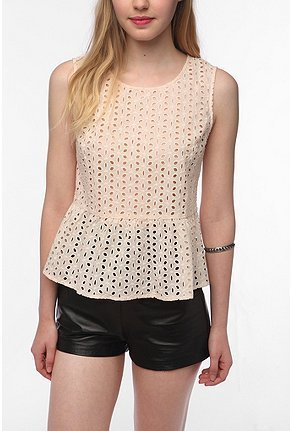This eyelet peplum tank kills two trends with one stone — and how great does it look with leather shorts?  Pins and Needles Eyelet Peplum Tank ($54)