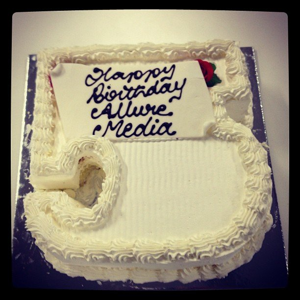 Happy Birthday Allure Media! This cake was meant to be a '5' but it looks more like a 'J'. Hmph.
