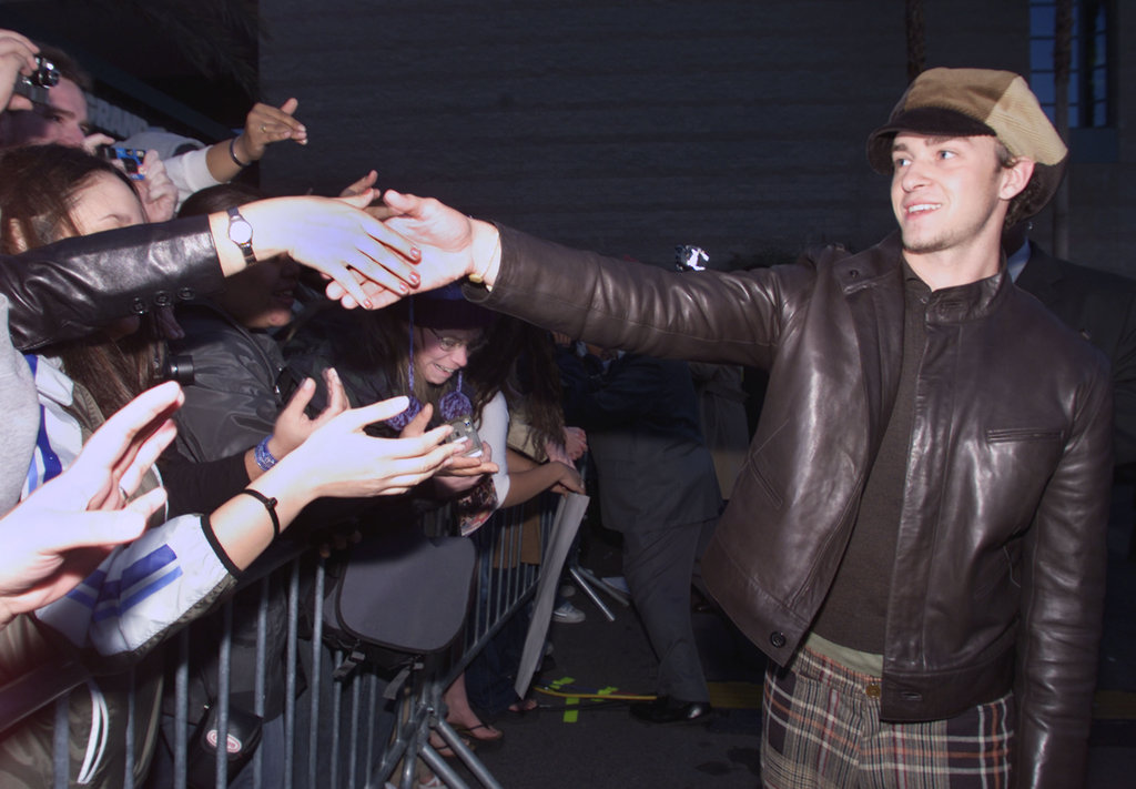 Justin Timberlake greeted fans during the 2001 show in December.
