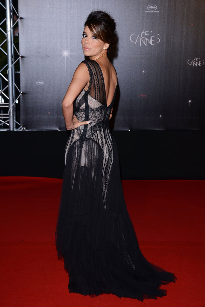 Eva Longoria showed off the gown's gorgeous sheer layers and struck a sultry pose before heading inside.