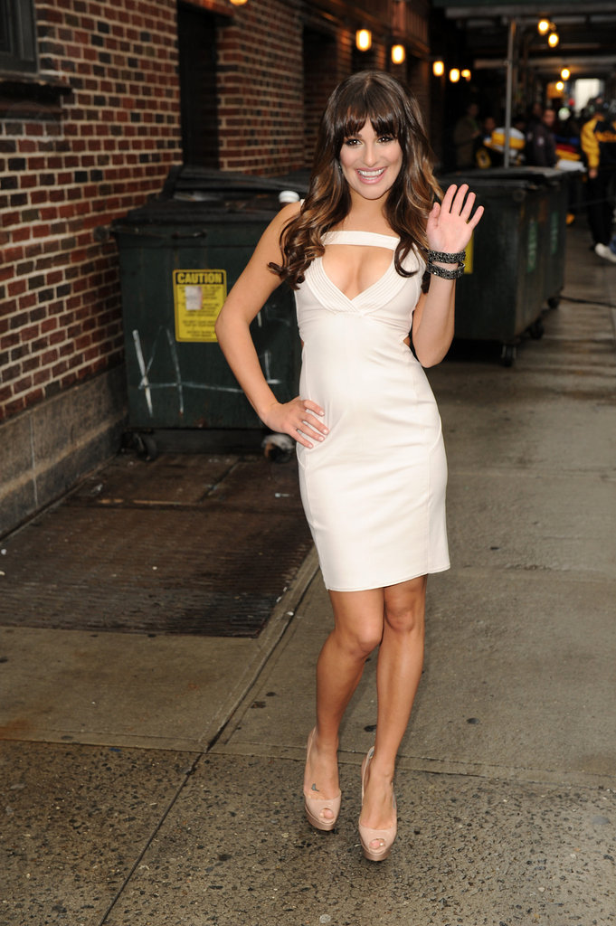 Lea Michele showed lots of sexy skin in a tight white dress after her appearance on The Late Show with David Letterman in NYC on May 21.