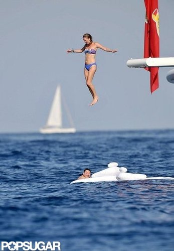 Nicky Hilton took an adventurous jump from the deck of a yacht anchored off the coast of St.Tropez in July 2010.