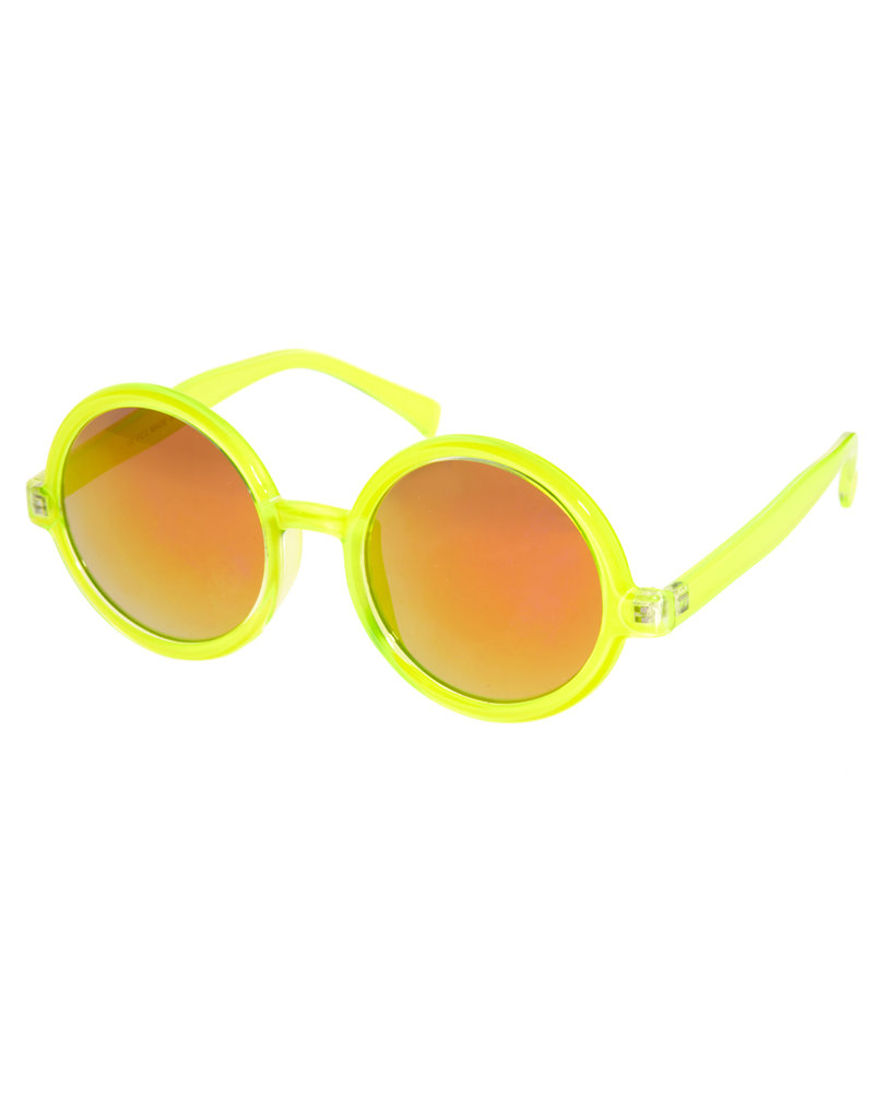 This neoprene pair is all the statement power you need to dress up cutoffs and swimsuits.  Asos Round Sunglasses With Pink Mirrored Lens ($21)