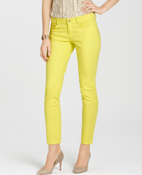 Ann Taylor Modern Cropped Denim Jean in Dayglow Yellow ($88)