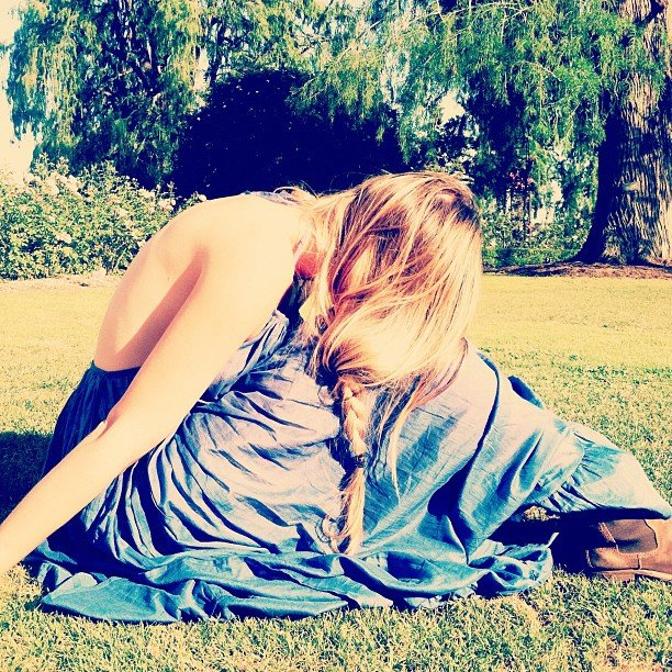Lauren Conrad showed off a pretty blue dress and a side braid.  Source: Instagram user laurenconrad
