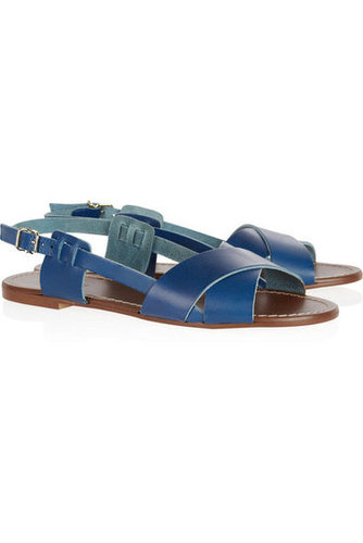 In a rich blue hue, these flat leather sandals are a unique pair you'll wear forever.  J.Crew Tova Leather Sandals ($98)