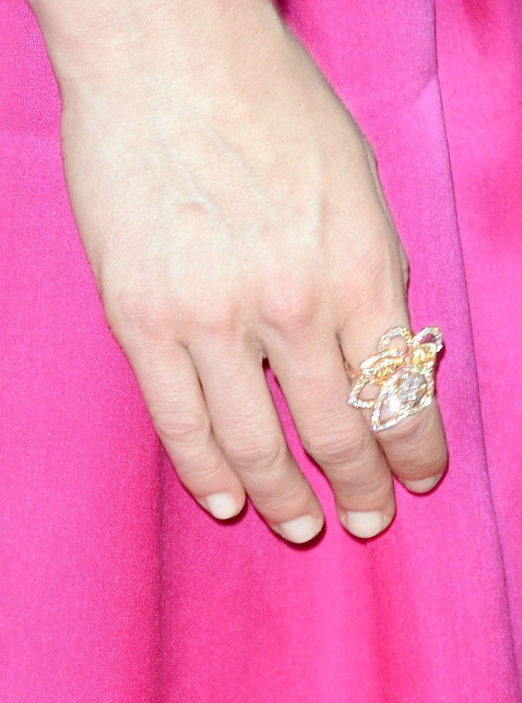 Kirsten Dunst accessorized with a delicate cocktail ring.