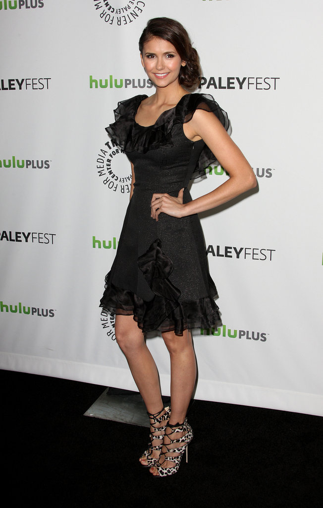 For her appearance at the 2012 Paley Fest, Nina stunned in a ruffle-lined Rachel Zoe number and exotic printed Jimmy Choo sandals.