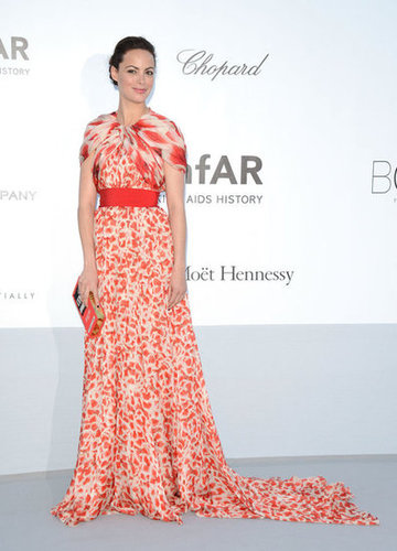 Bérénice Bejo chose an elegant red-and-white cap-sleeved gown for the occasion.
