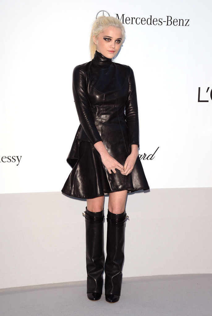 Sky Ferreira chose a tougher fit-and-flare leather silhouette with moto-inspired knee-high boots.
