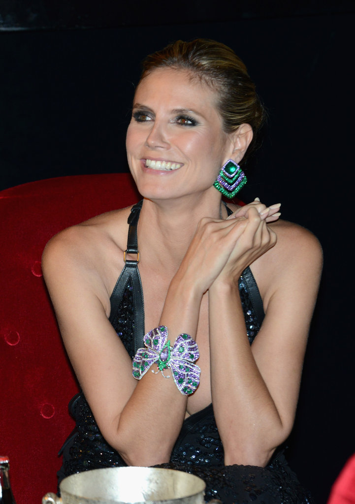 We can't stop staring at Heidi's butterfly jeweled bracelet.