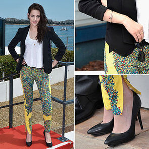 Pictures of Kristen Stewart in Balenciaga Printed Pants at the On The Road Photocall at the 2012 Cannes Film Festival