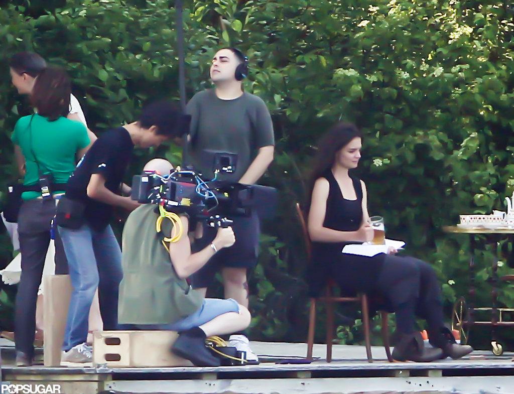 Katie Holmes sat on set in Kent, CT.