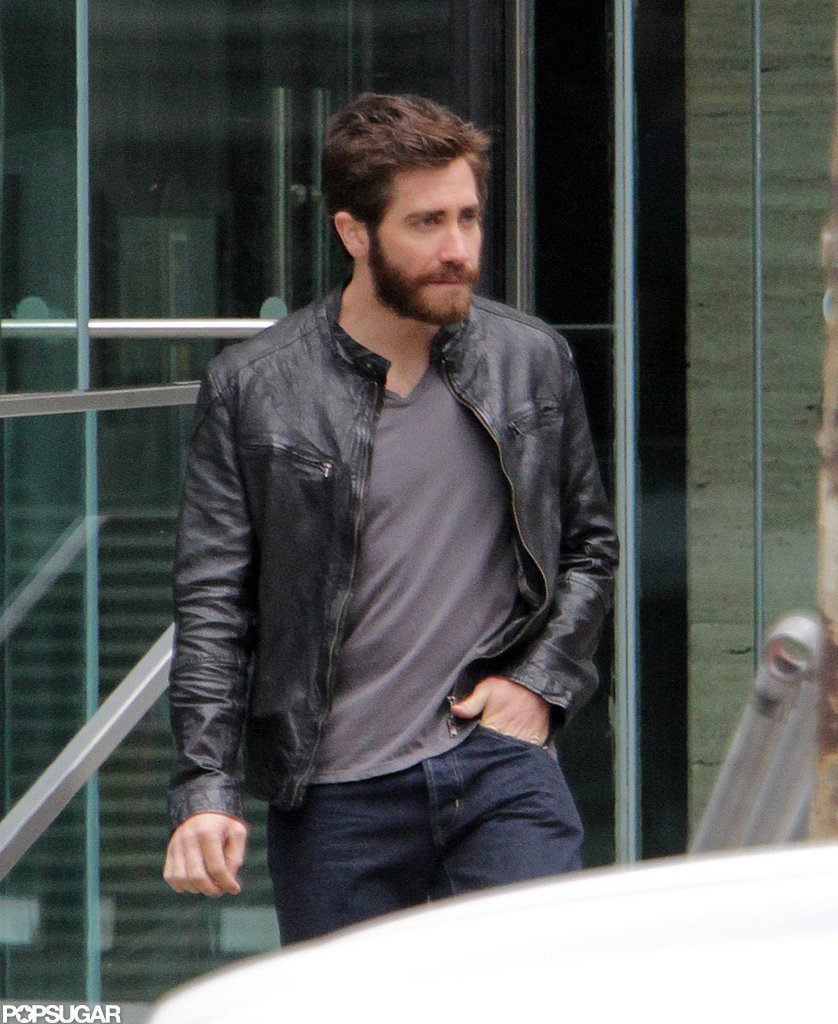 Jake Gyllenhaal tucked one hand in his pocket while shooting a scene in Canada.