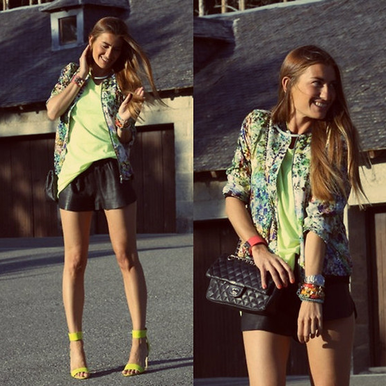 Give neon shorts a Summer makeover with a blast of brights and a hint of floral.  Phot courtesy of Lookbook.nu