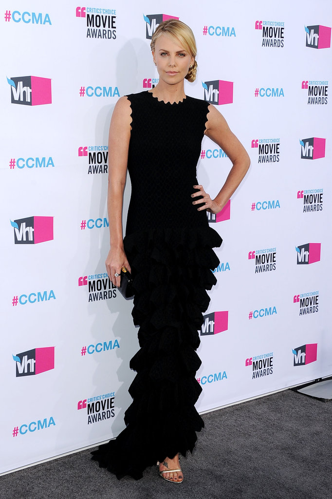 Charlize stunned in a scalloped Azzedine Alaïa gown at the 2012 Critics' Choice Movie awards.