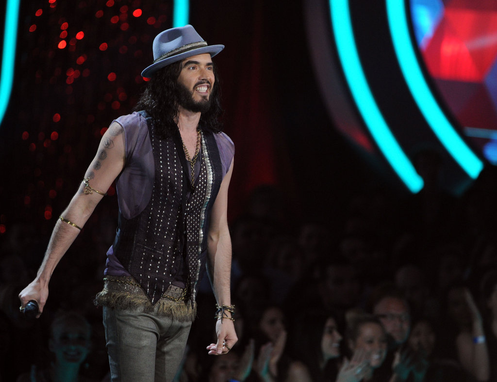 Russell Brand was all smiles during his monologue.
