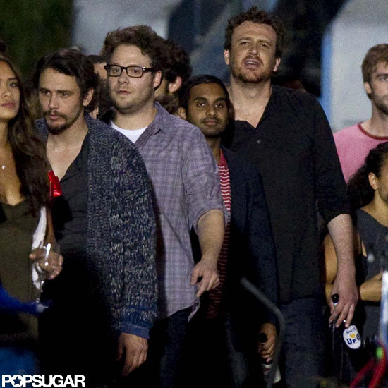 Seth Rogen, Jason Segel, and James Franco got together to film on the set of The End of the World in NYC.