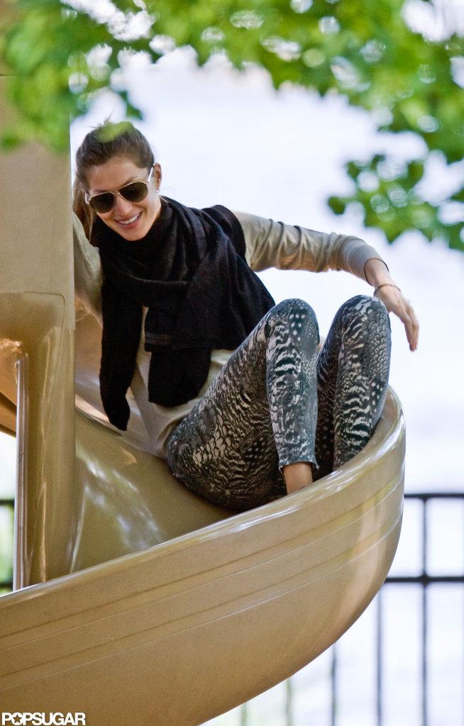 Gisele Bundchen took a ride on the slide.