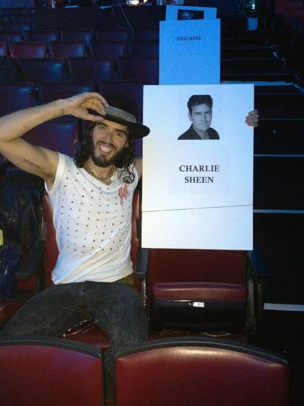 Russell Brand posed with audience seating cards at the MTV Movie Awards. Source: Twitter user rustyrockets