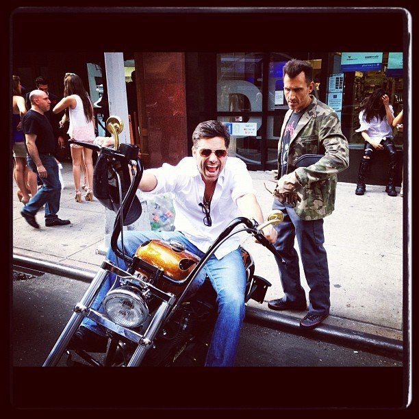 John Stamos hopped on a bike for a well-posed pic. Source: Instagram user jockostamps