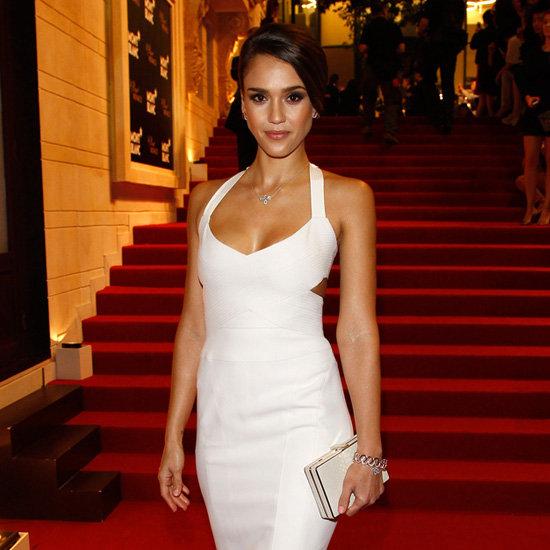 Jessica Alba White Cutout Dress