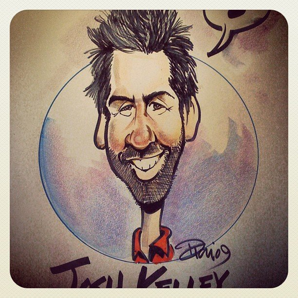 Josh Kelley had his portrait drawn.  Source: Instagram user joshbkelley
