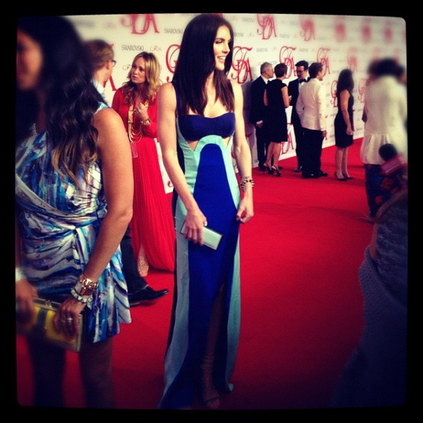 Model Hilary Rhoda opted for a blue-on-blue look to the event.