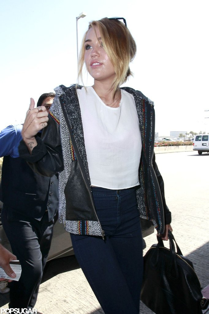 Miley Cyrus arrived at LAX.