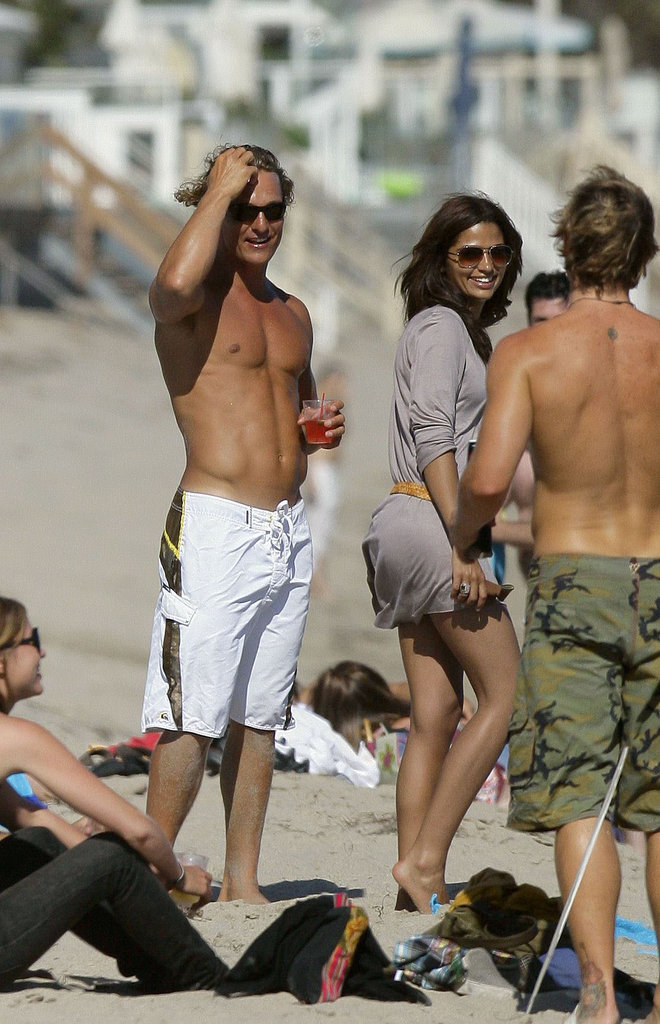 The couple hung out with friends on the beach in Malibu in June 2007.