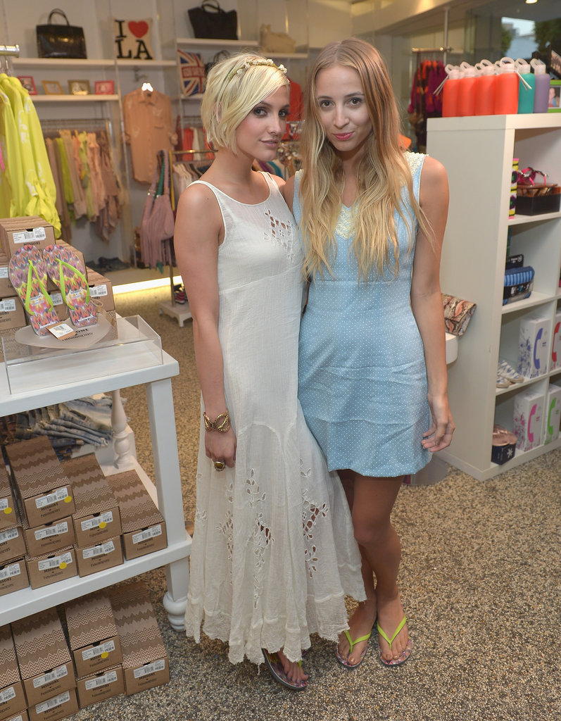 Ashlee Simpson and Harley Viera-Newton both wore dresses to the event at Kitson.