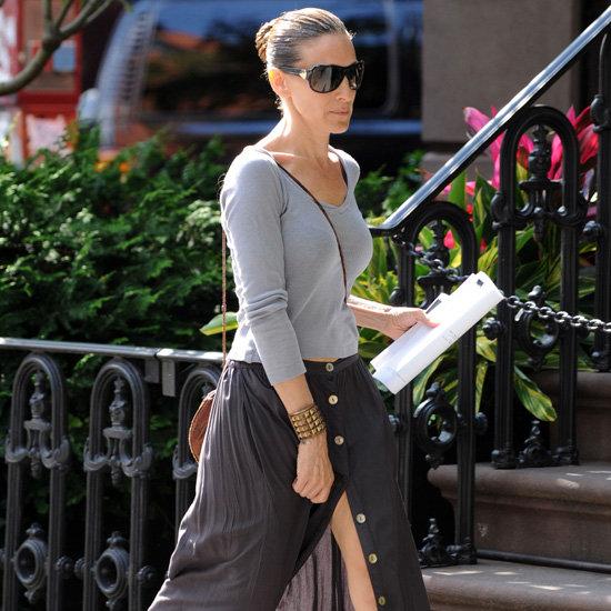 Sarah Jessica Parker Gray Button-Front Skirt