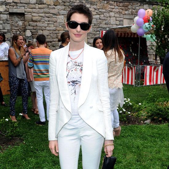 Anne Hathaway White Suit