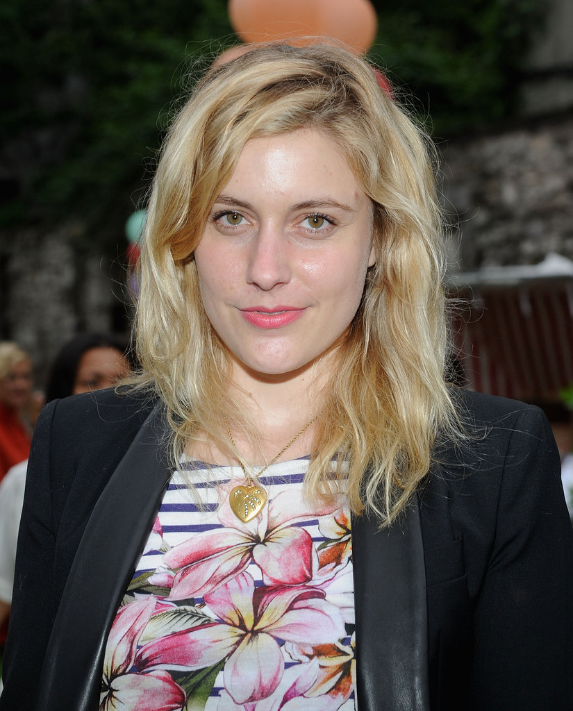 Greta Gerwig posed at Stella McCartney's Spring presentation in NYC.