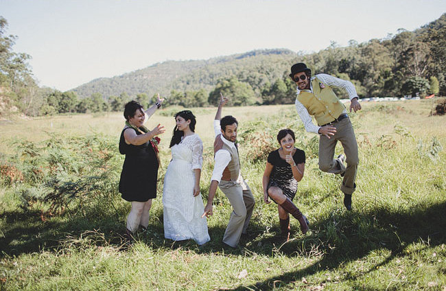 Bridal Party Fun in the Fields