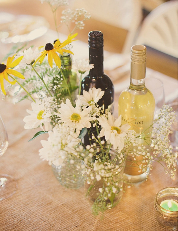 Burlap and Wildflower Centerpieces