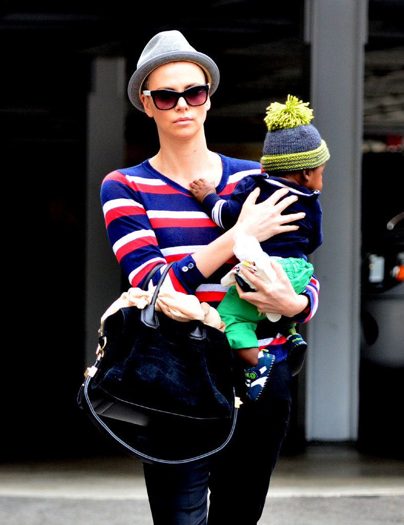 Charlize Theron Shaves Her Head and Spends a Day With Baby Jackson