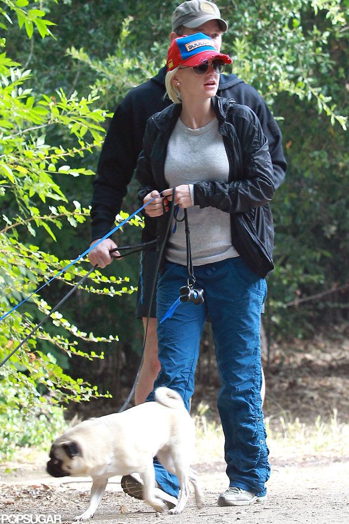 Anna Faris and Chris Pratt spent the morning walking their three dogs in LA.