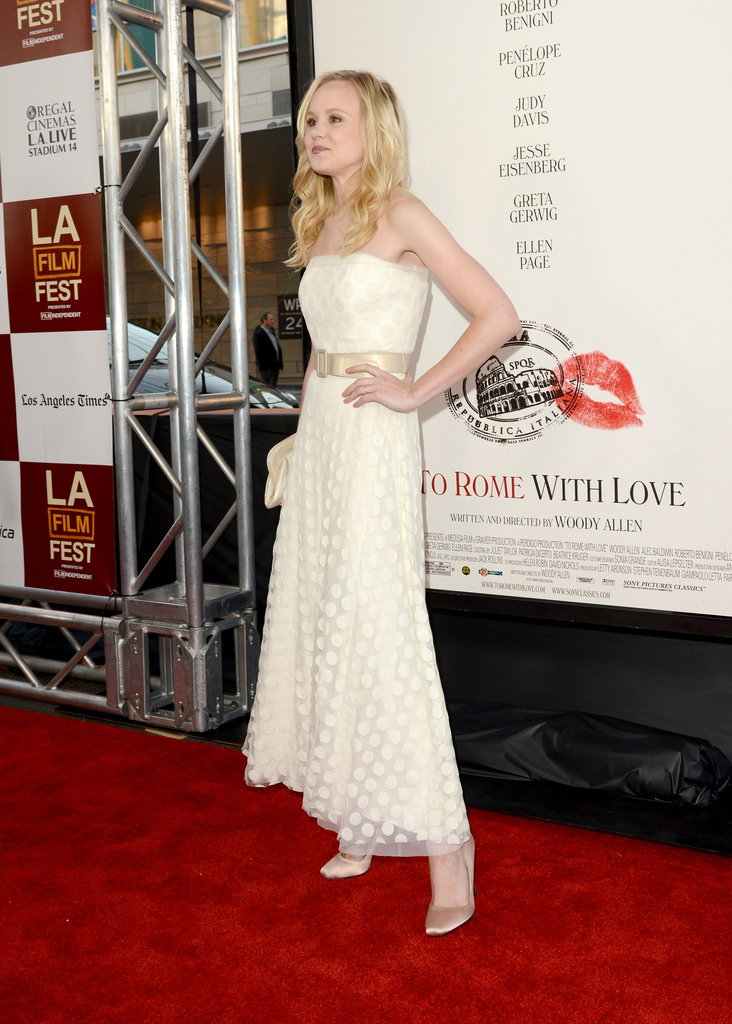Alison Pill wore a long white gown to the LA premiere of To Rome With Love.