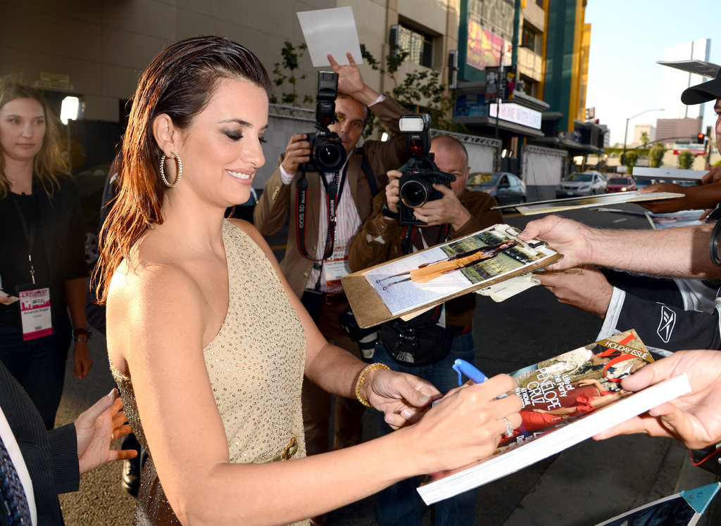 Penelope Cruz spent time with fans at the LA premiere of To Rome With Love.