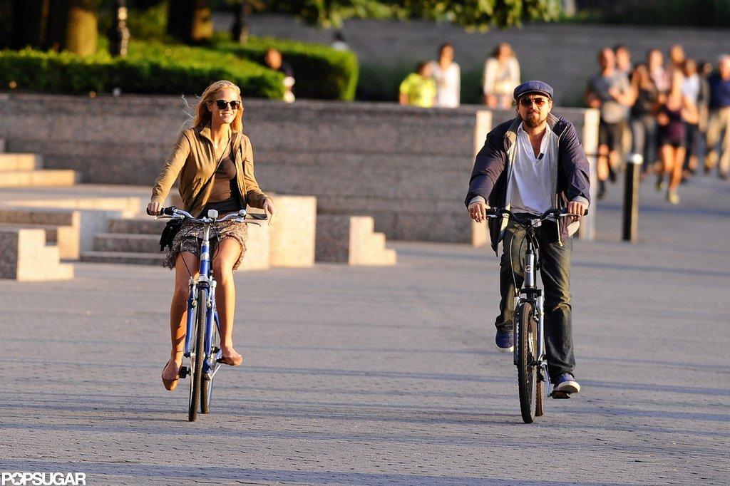Leonardo DiCaprio and his Victoria's Secret Angel girlfriend, Erin Heatherton, biked.